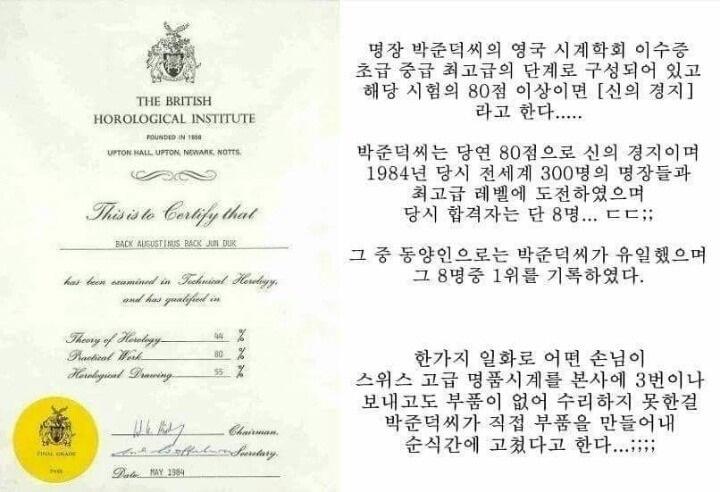 한국의 명품시계 수리 장인