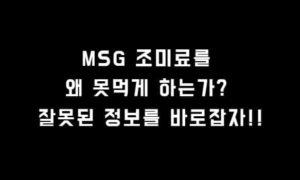 MSG 조미료를 왜 못먹게 하는가?? 정부도 100% 안전하다고 인정함.