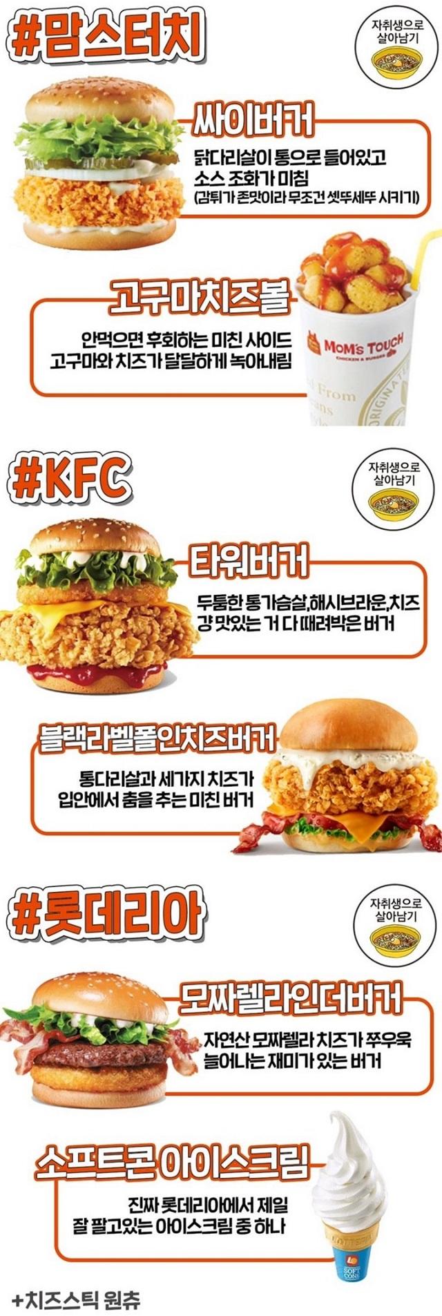햄버거 브랜드별 잘나가는 메뉴들 3